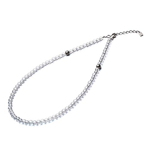【phiten(ファイテン)公式通販サイト】【送料無料】 水晶ネックレス(+5cmアジャスター) (5mm) 50cm 0515AQ808053